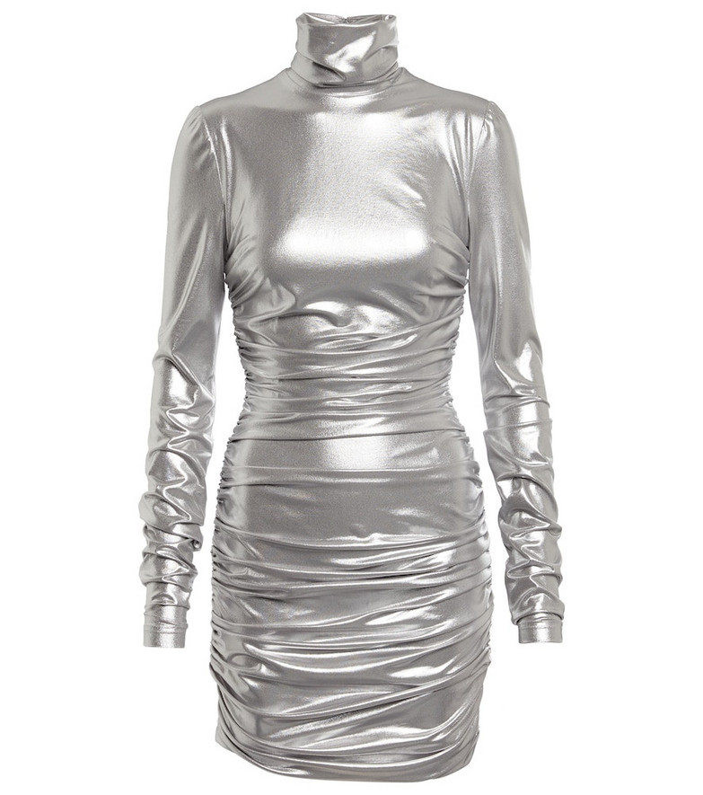 Dolce & Gabbana Ruched jersey-blend minidress in silver