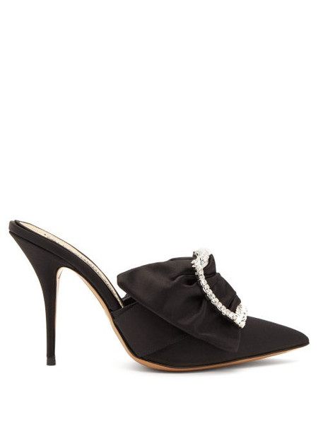 Alexandre Vauthier - Lola Crystal Embellished Buckle Satin Mules - Womens - Black