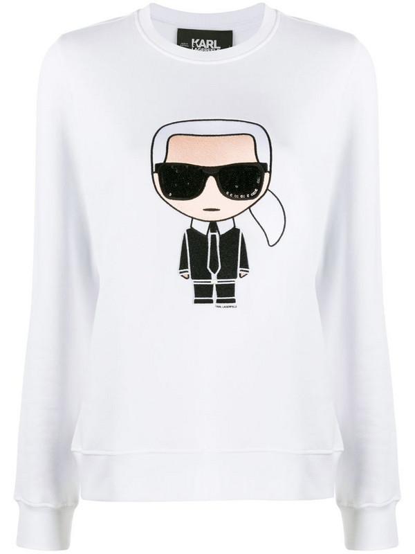 Karl Lagerfeld Karl motif long-sleeve top in white