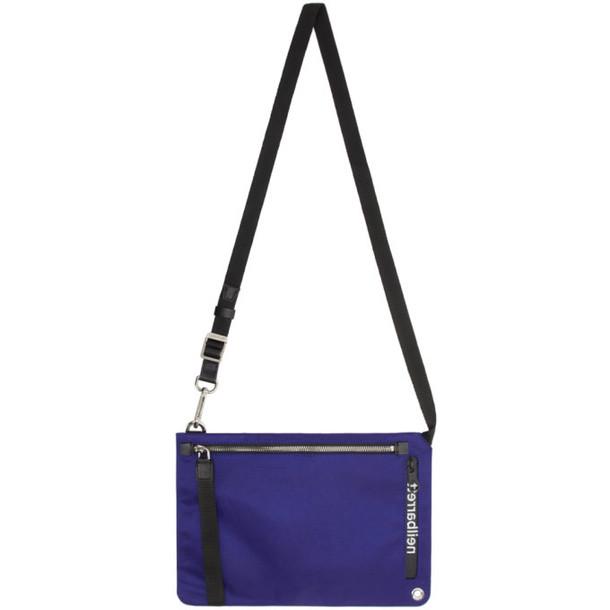 Neil Barrett Blue Backwards Logo Messenger Bag