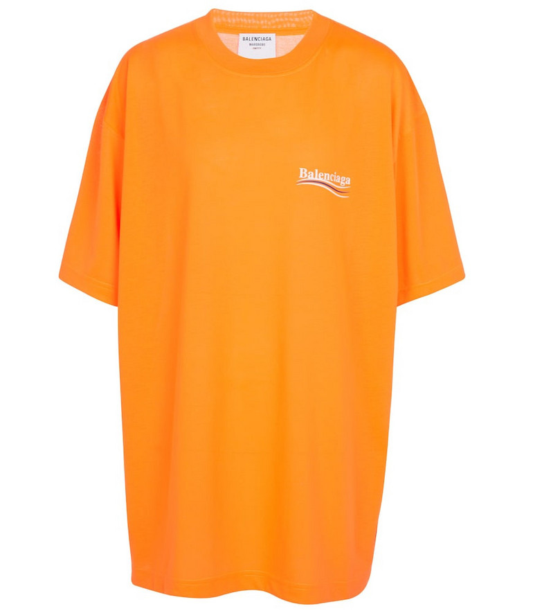 Balenciaga Logo oversized cotton jersey T-shirt in orange