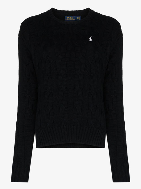 Polo Ralph Lauren exploded cable knit sweater in black
