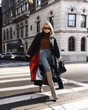 shoes,knee high boots,heel boots,skinny jeans,high waisted jeans,black coat,long coat,black bag,turtleneck sweater,sunglasses