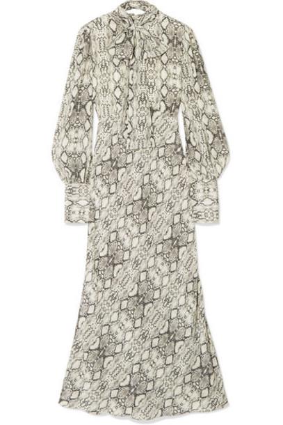 Les Rêveries - Snake-print Silk Crepe De Chine Midi Dress - Snake print
