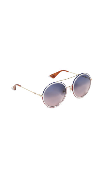 Gucci Urban Web Round Sunglasses in blue / gold