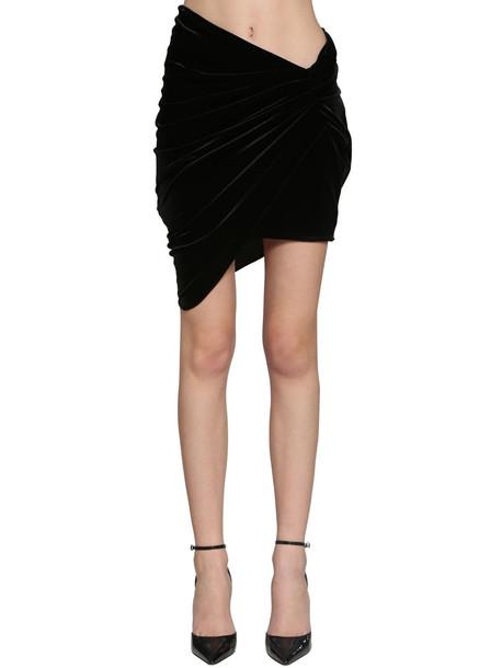ALEXANDRE VAUTHIER Draped Velvet Jersey Mini Skirt in black