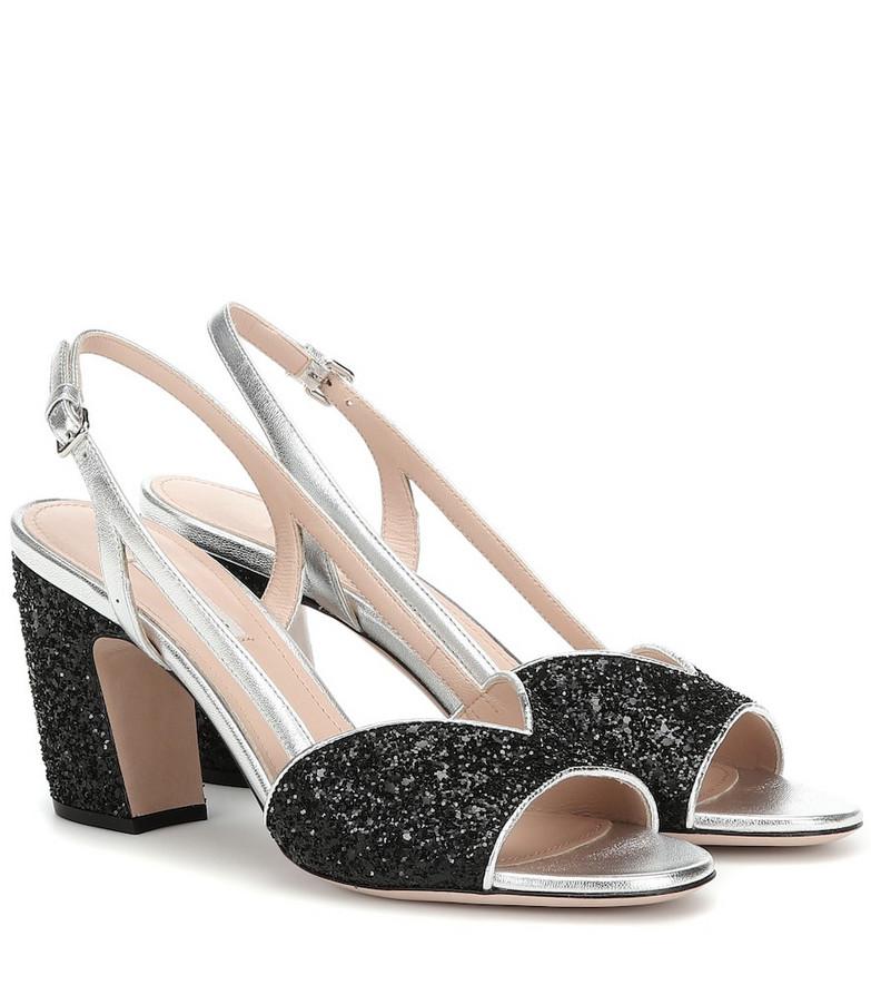 Miu Miu Glitter slingback sandals in black
