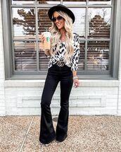 pants,black pants,flare pants,black and white,shirt,gucci belt,hat