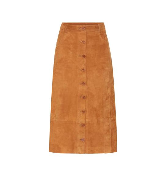 Altuzarra Westwind suede midi skirt in brown