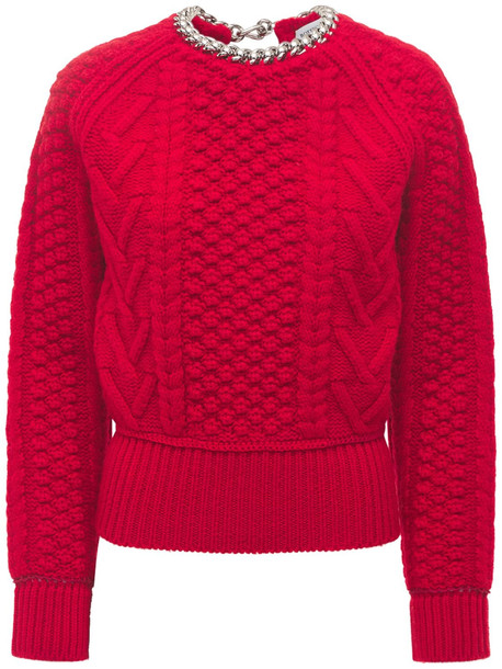 BOTTEGA VENETA Shetland Tweed Sweater W/ Open Back in red
