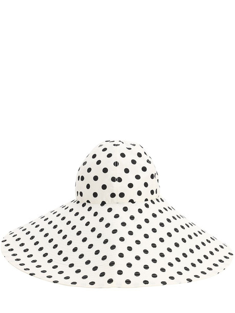 MARIANNA SENCHINA Wide Brim Printed Canvas Hat in black / white