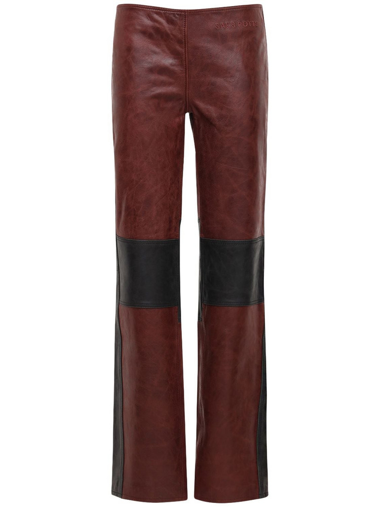 SAKS POTTS Gasoline Leather Straight Pants in black