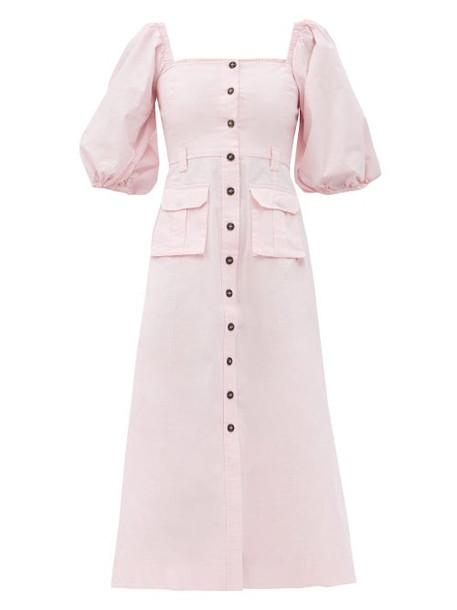 Ganni - Puff-sleeved Cotton-blend Midi Dress - Womens - Light Pink