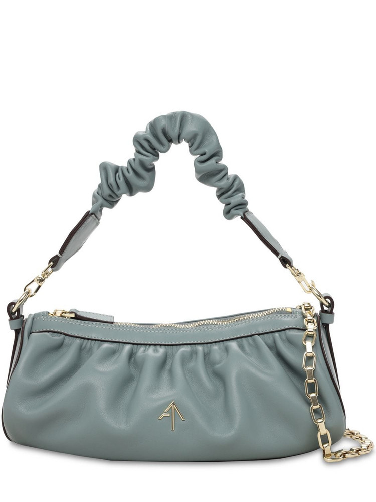 MANU ATELIER Ruched Cylinder Chain Soft Leather Bag in blue / stone