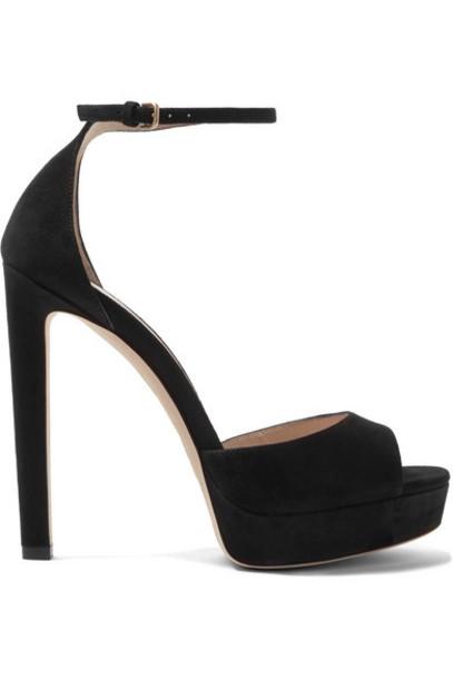 Jimmy Choo - Pattie 130 Suede Platform Sandals - Black