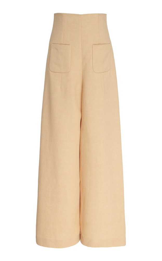 DELPOZO Linen Canvas Extra-High Midi Pants in pink