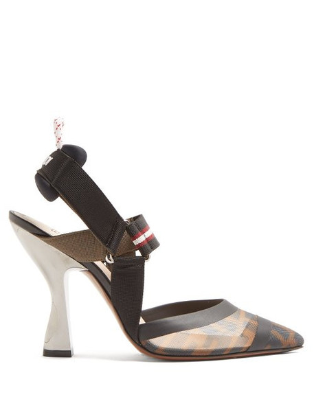 Fendi - Colibrì Ff Print Mesh Pumps - Womens - Black Multi