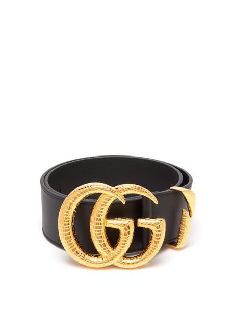 Gucci - Snakeskin Effect Gg Logo Leather Belt - Womens - Black