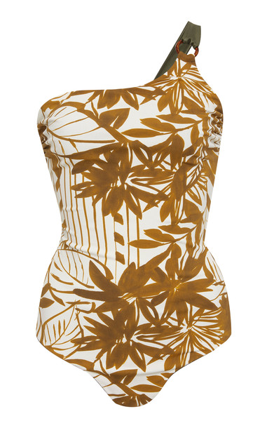 Max Mara Pecos Reversible One-Shoulder Swimsuit Size: M in print