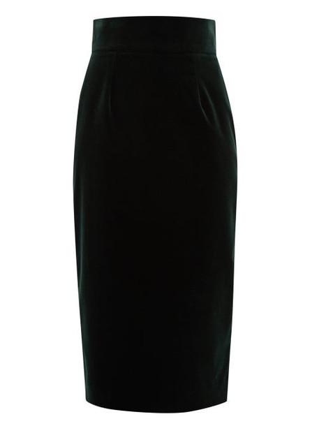 Goat - Illinois High Rise Velvet Pencil Skirt - Womens - Dark Green