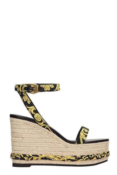 Versace Barocco Fabric Ankle Strap Straw Wedges in black