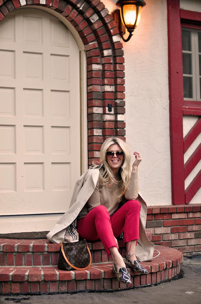 love maegan blogger coat bag shoes sunglasses loafers fall outfits trench coat red pants louis vuitton bag
