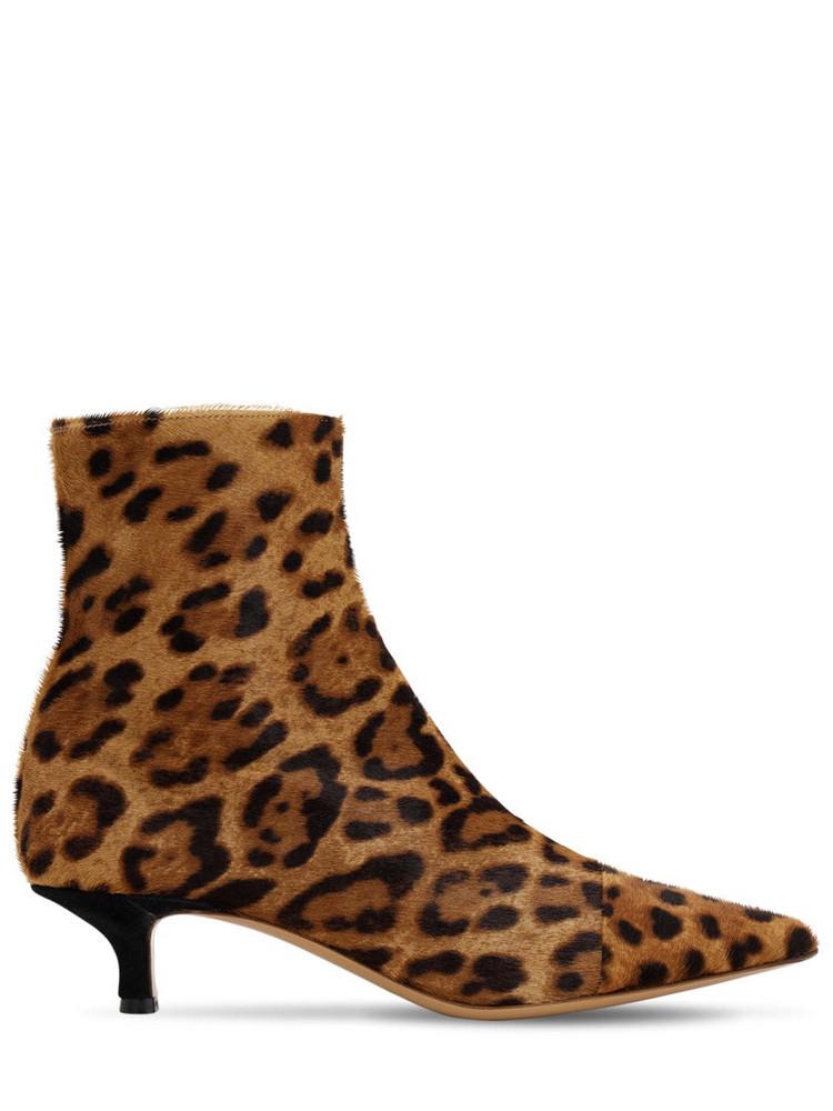 LE MONDE BERYL 40mm Leopard Print Ponyskin Ankle Boots