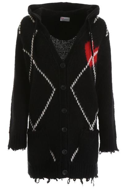 RED Valentino Heart Intarsia Cardigan in black