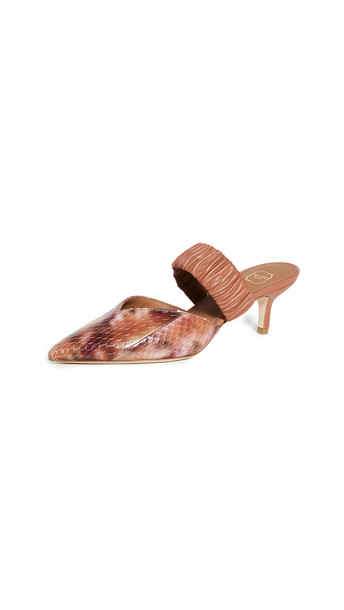 Malone Souliers 45mm Snakeskin Matilda Mules in neutral