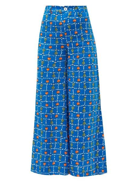 Staud - Plum Vegetable Print Linen Wide Leg Trousers - Womens - Blue Multi