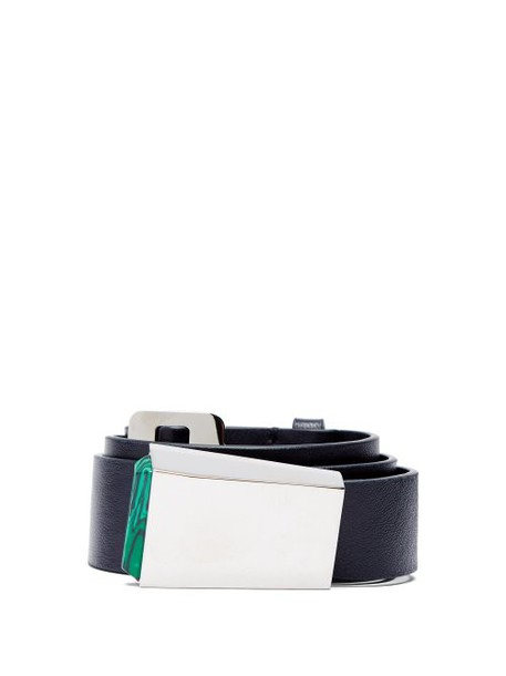 Gabriela Hearst - Car Buckle Leather Belt - Womens - Navy