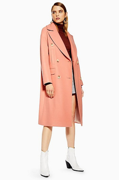 Topshop Relaxed Coat - Apricot