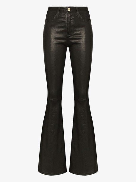 FRAME Le High flare leather trousers in black