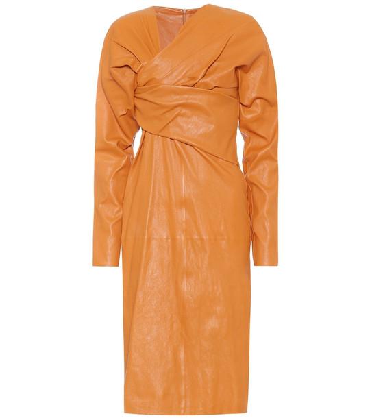 Bottega Veneta Leather midi dress in brown
