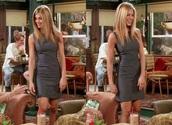 dress,jennifer aniston,grey dress,skater dress,friends,friends TV show