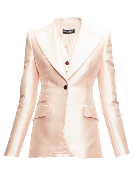 Dolce & Gabbana - Single-breasted Mikado Blazer - Womens - Light Pink