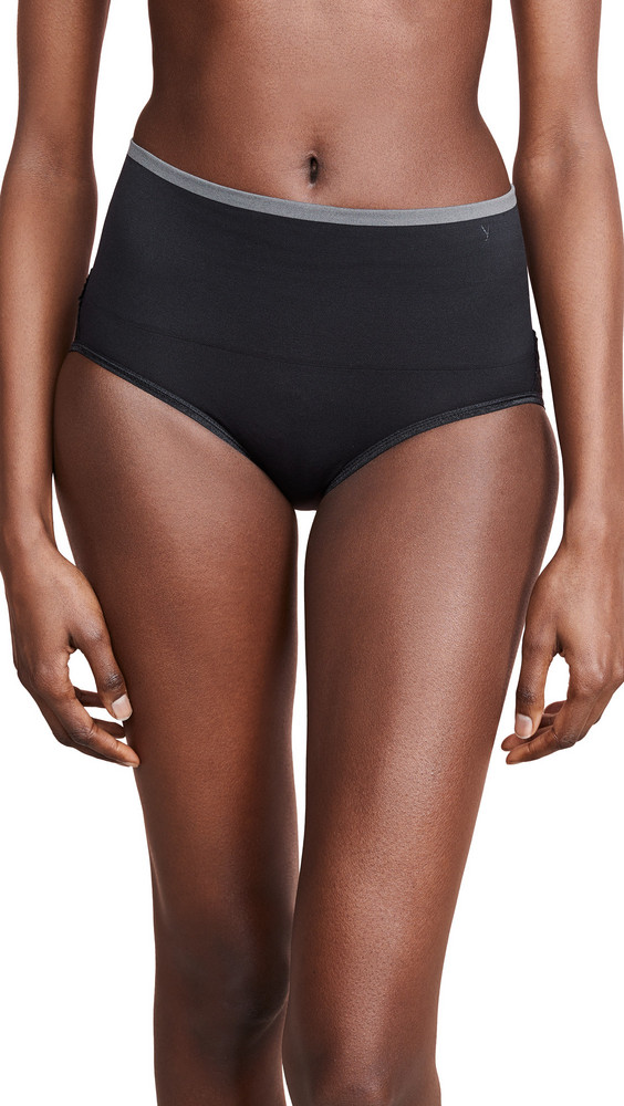 Yummie Ultralight Seamless Brief with Lace Insert in black