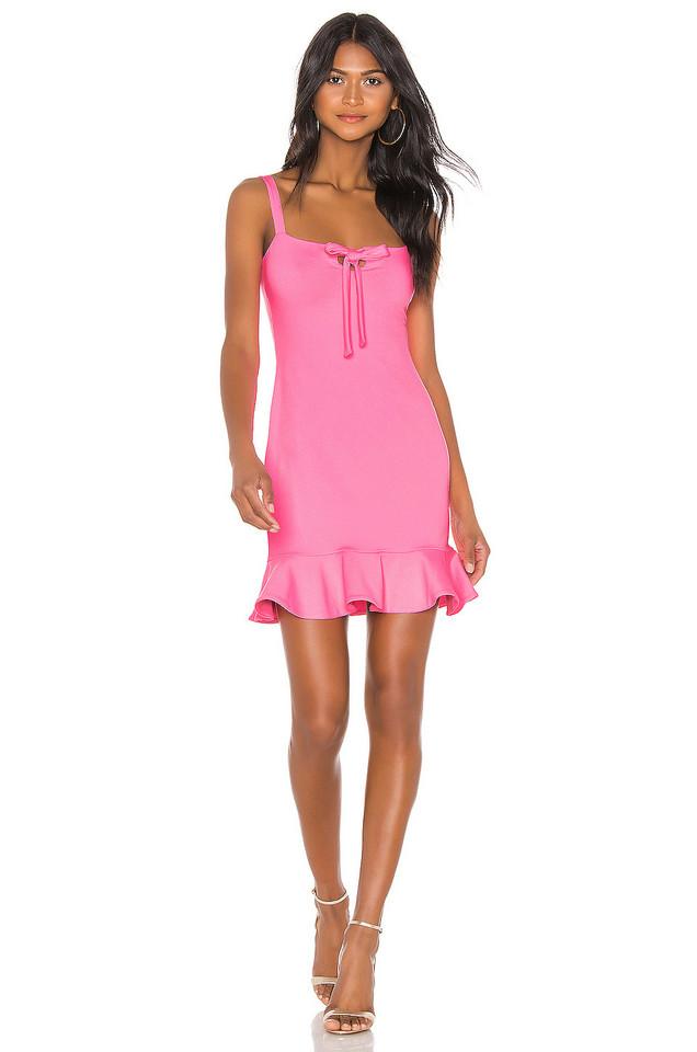 Susana Monaco Keyhole Front Ruffle Hem Dress in pink