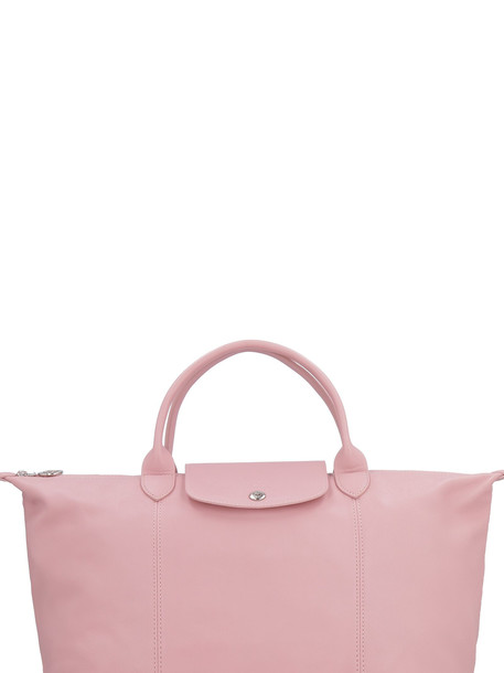 Longchamp Le Pliage Cuir M Tote in pink
