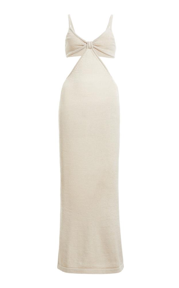 Cult Gaia Serita Ribbed Cotton-Blend Maxi Dress in white