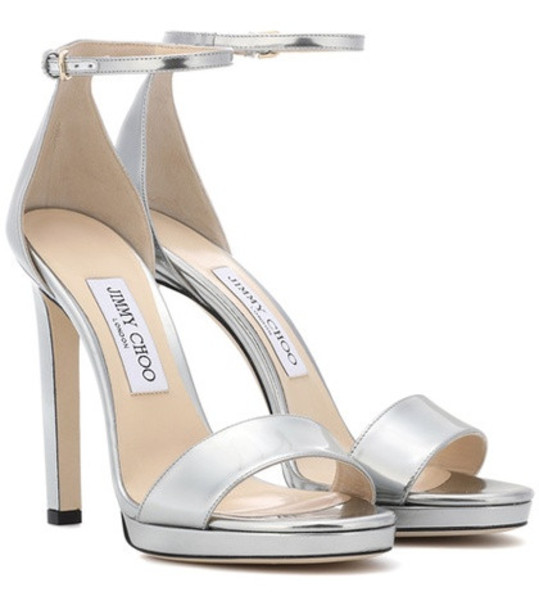 Jimmy Choo Misty 120 leather sandals in silver