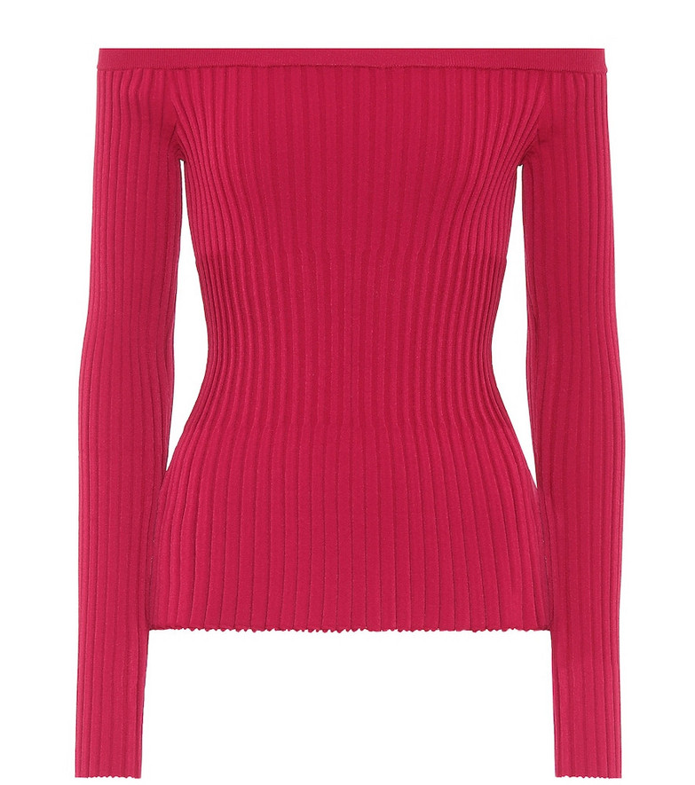 Altuzarra Off-the-shoulder ribbed sweater in pink