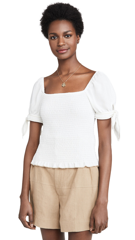 Moon River Puff Sleeve Smocked Top in white