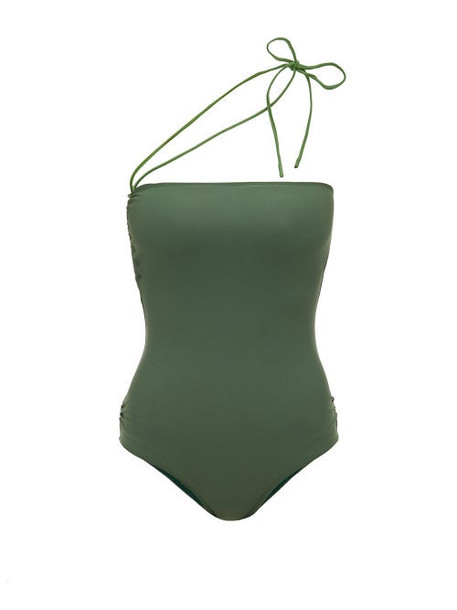 Jacquemus - Alassio One Shoulder Swimsuit - Womens - Green
