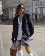 jacket,blazer,oversized,knee high boots,white boots,bucket bag,brown bag,stripes,short,white shirt