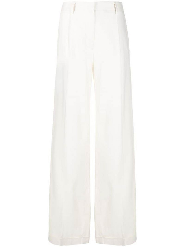 Off-White high waisted loose trousers in white