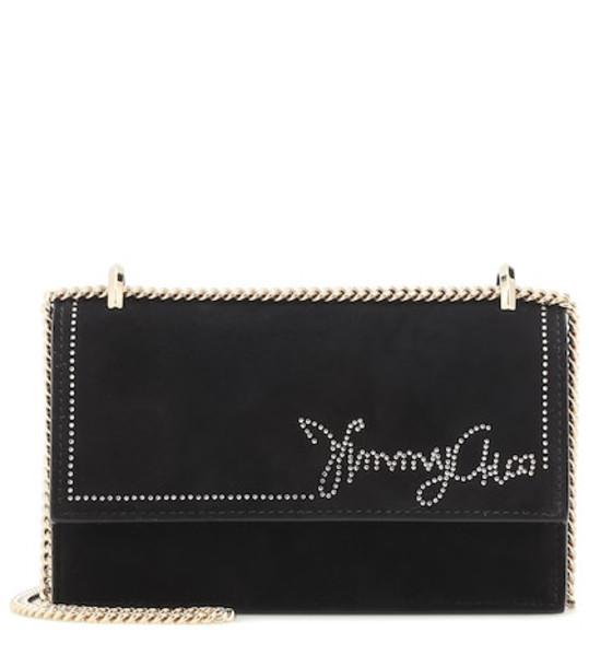 Jimmy Choo Leni suede shoulder bag in black