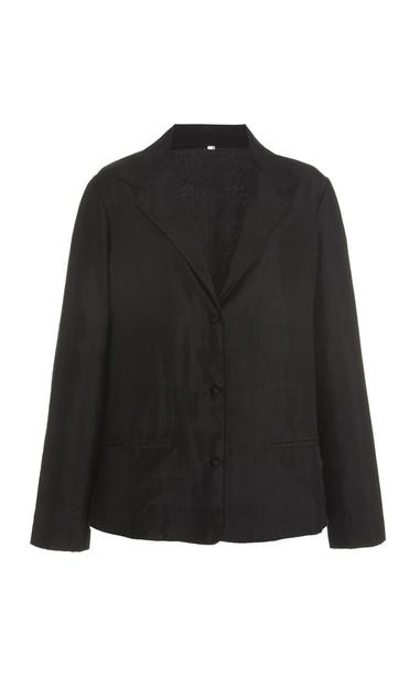 Mimi Prober Cowan Embroidered Organic Silk Blazer in black