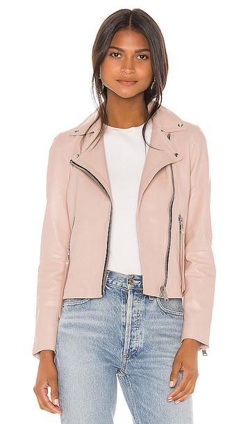 ALLSAINTS Dalby Leather Biker Jacket in Pink