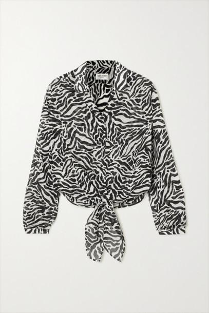 SAINT LAURENT - Tie-front Zebra-print Gauze Blouse - Gray